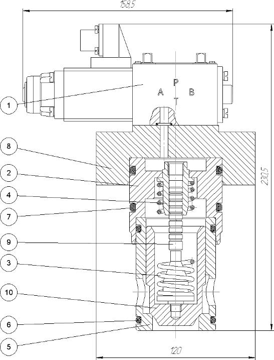 Клапан гидроуправляемый встроенный